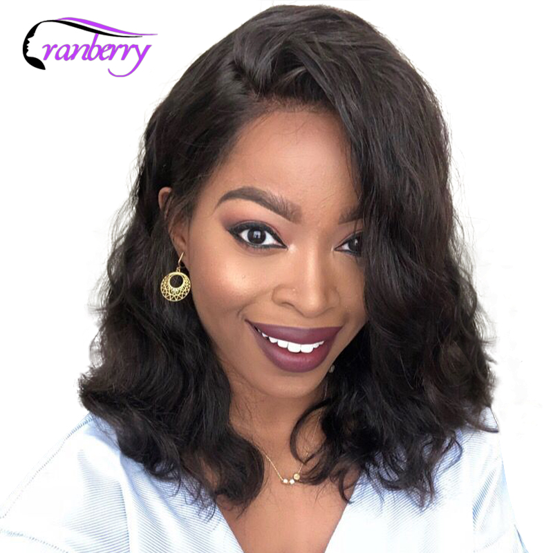 Cranberry Hair Body Wave 13x4 Short Bob Lace Frontal Wigs Remy Hair Lace Front Human Hair Wigs Peruvian Hair Lace Closure Wig-in Human Hair Lace Wigs from Hair Extensions & Wigs    1