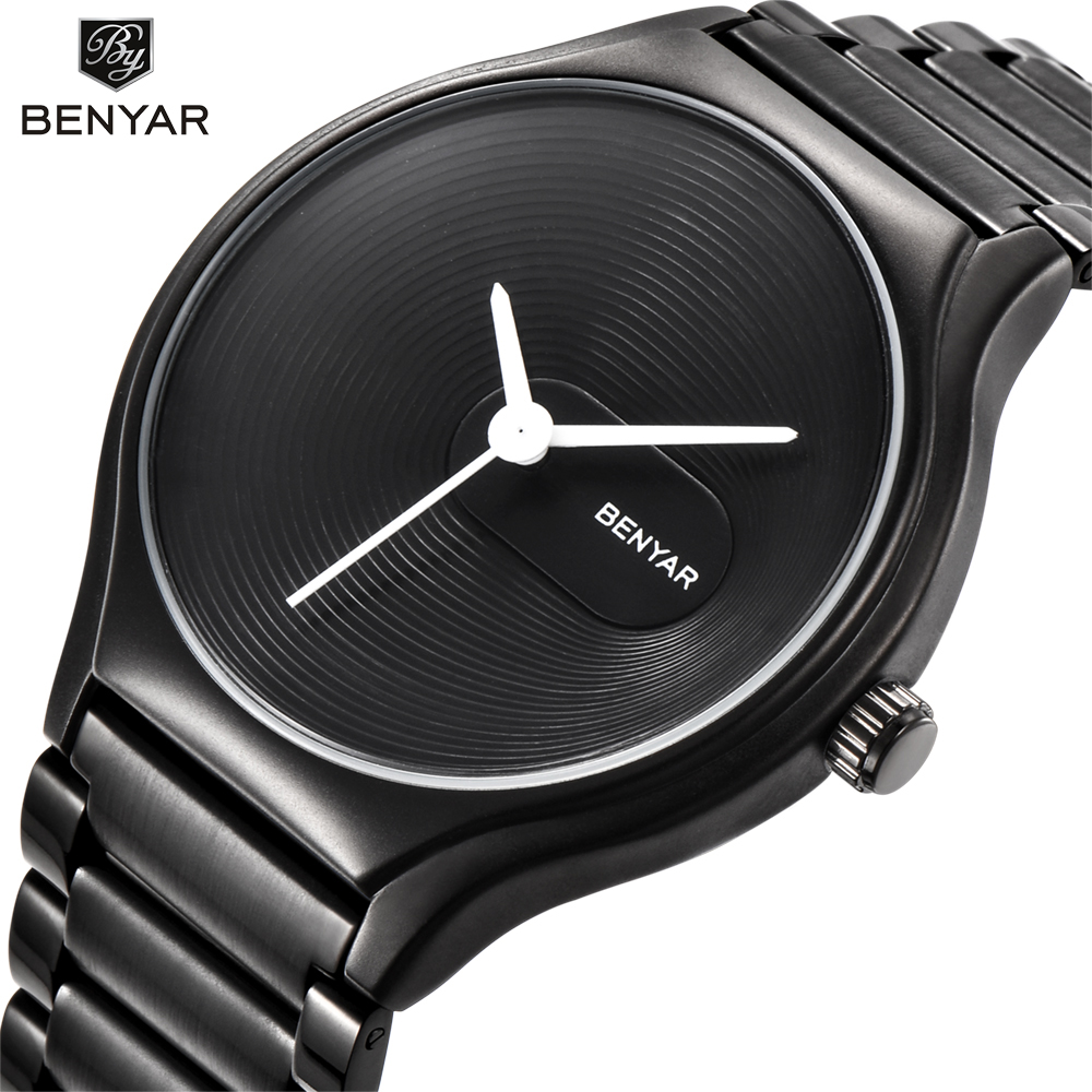 BENYAR Fashion Casual Simple lovers' Quartz Watch Waterproof Full Steel Men Watches Top Brand Luxury Women Wrist Watch Clock halei lovers watches crystal inlaid full steel quartz watch women men simple casual wristwatches silver clock calendar relojes