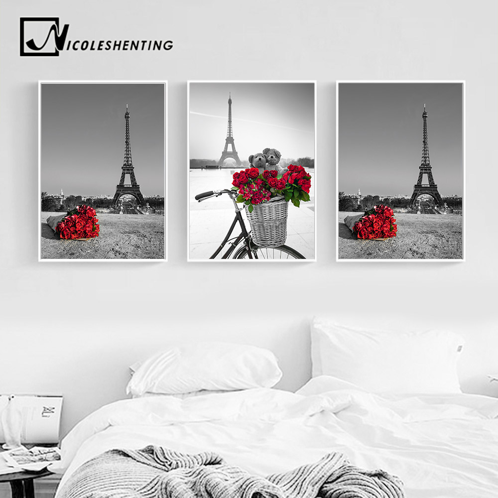 Paris eiffel tower red rose flower landacape posters and for Eiffel tower wall mural black and white