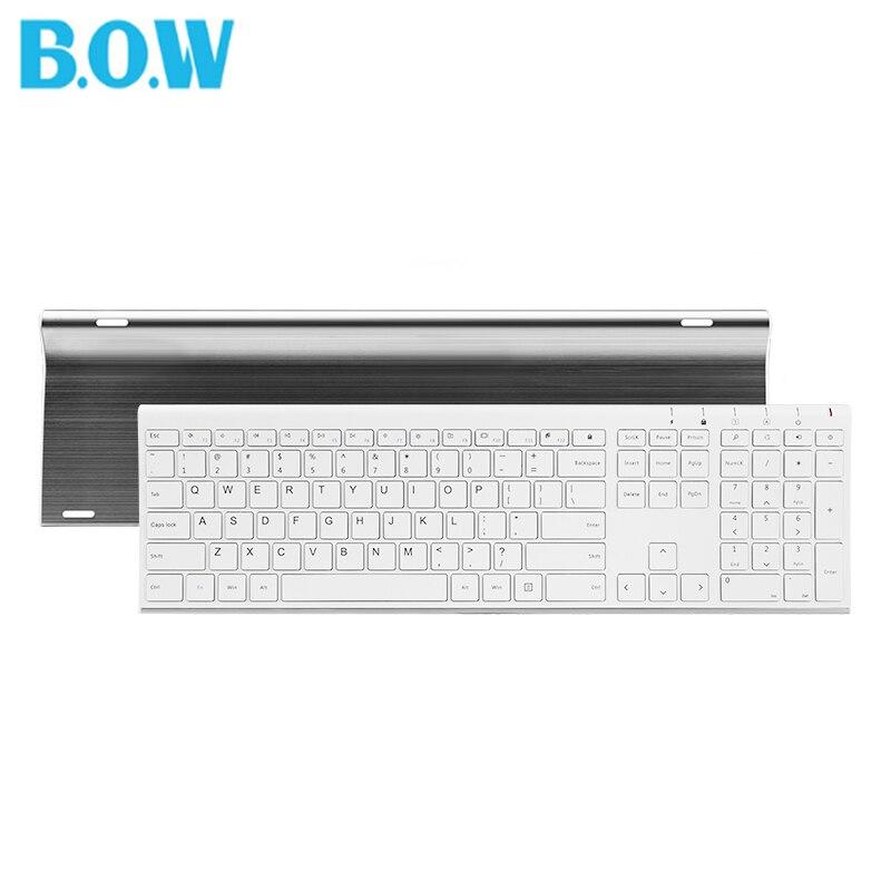 B.O.W Super Thin Metal wireless Slim keyboard Rechargeable,Ergonomic Design & Silent Full size keyboard for Desktop PC computer