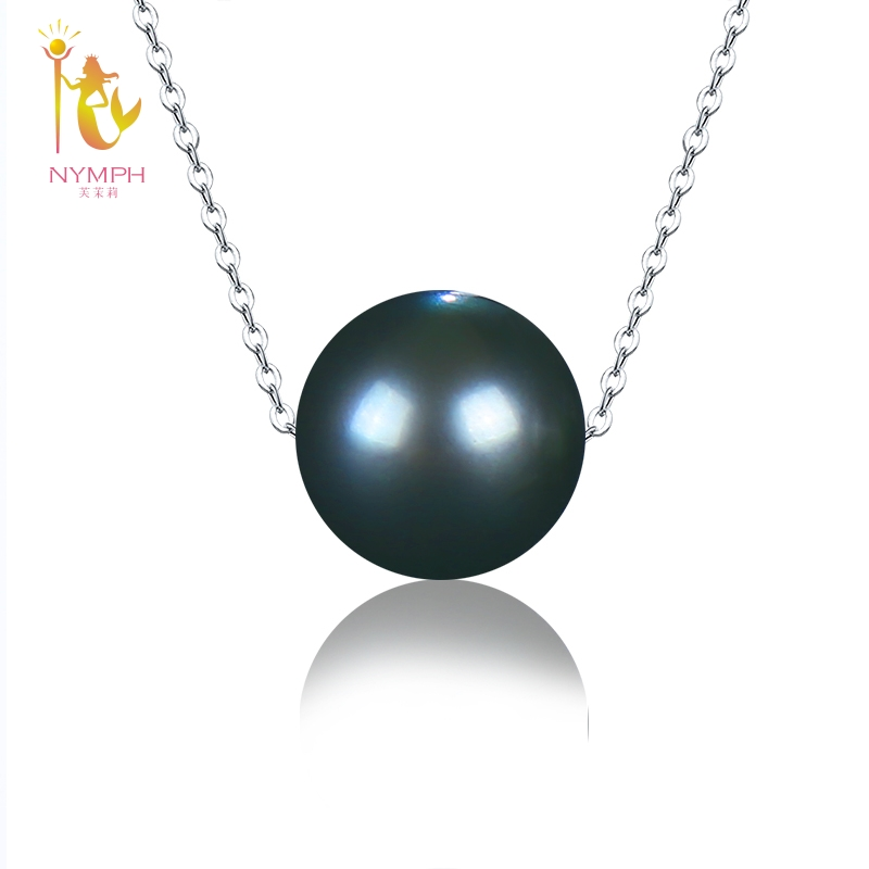 NYMPH Natural Black Tahitian Pearl Jewelry Real 18k White Gold Necklace Pendant Fine Jewelry Wedding Party Gift For Women D237 nymph brand 18k 9 10mm pearl pendant necklaces for women yellow gold pearl fine jewelry gift party luxury lifestyle