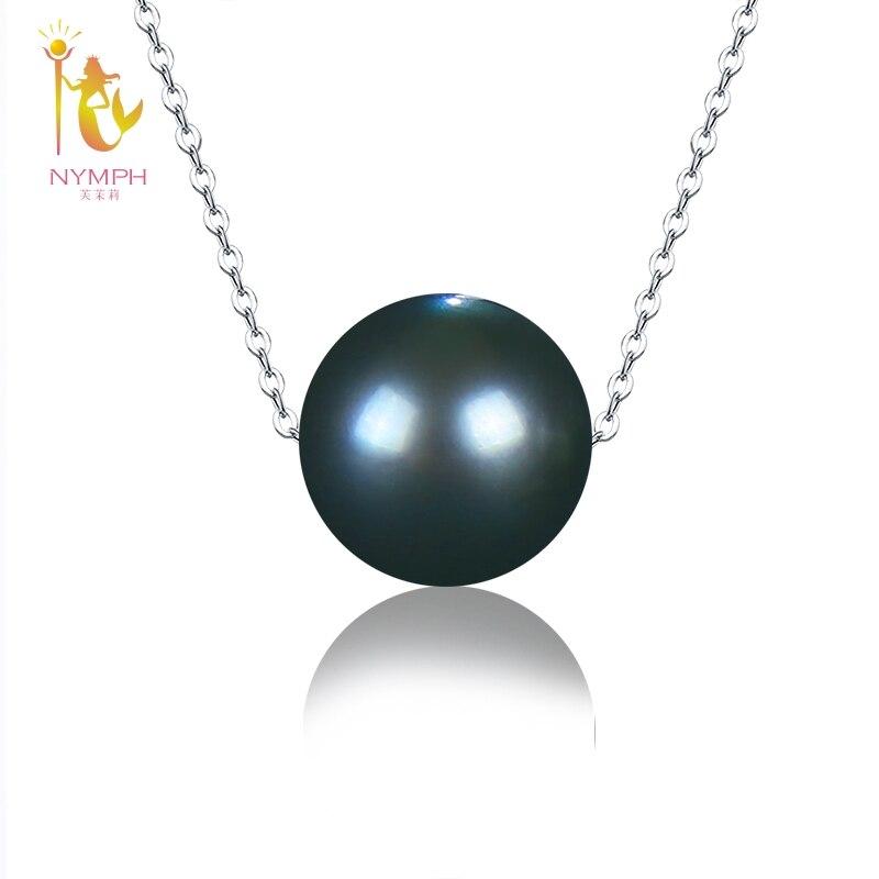 NYMPHE Naturel Noir Perle de Tahiti Bijoux Réel 18 k Or Blanc Collier Pendentif Bijoux Cadeau De Fête De Mariage Pour Les Femmes d237