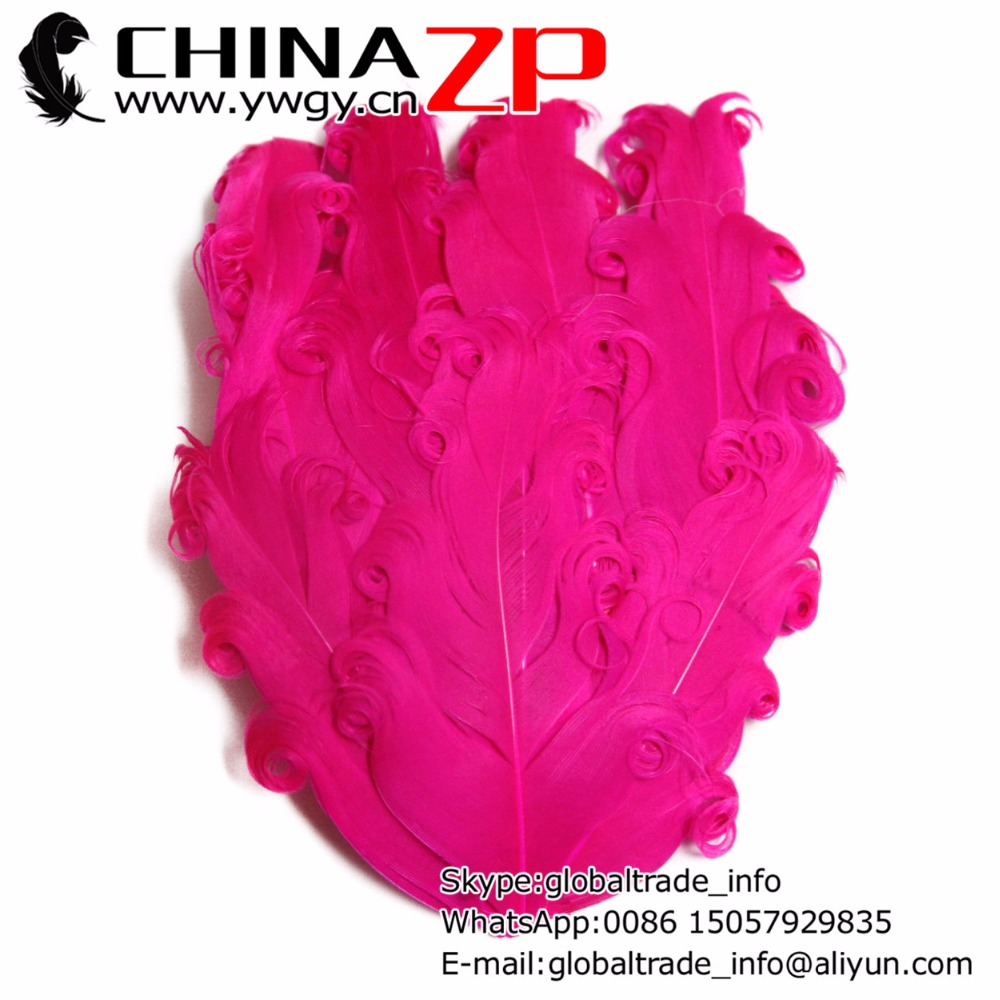 Gold Manufacturer CHINAZP Factory 50pcs/lot Top Quality Hot Pink Curled Nagorie Flower Goose Feather Pad