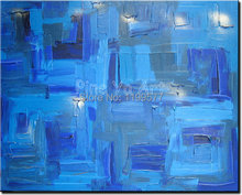 Abstract modern large canvas wall art handpainted decorative blue Knife paint oil painting on canvas for living room decoration