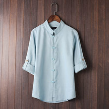 2018 Chinese wind plate of tang suit seven points Chinese men's vintage linen collar shirt sleeve shirt(China)