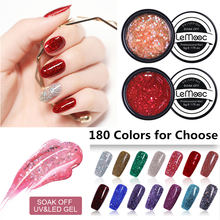 LEMOOC 5ml UV Gel 2019 New Arrival Nail Art Tips 180 Pure Color Manicure Soak Off DIY Paint Ink Polish