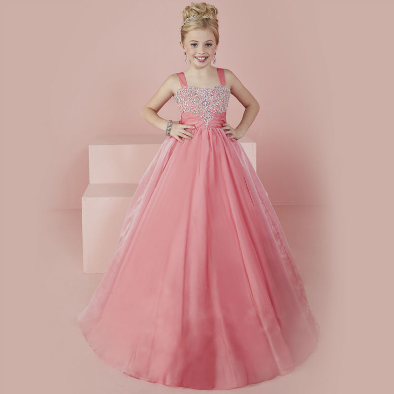 Long New Flower Girls Dresses For Wedding Gowns Tulle Glitz Pageant Dresses for Little Girls A-Line Mother Daughter Dresses