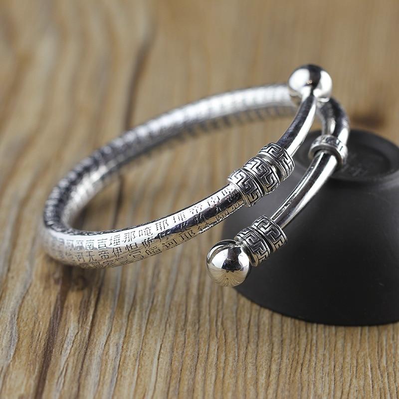 2018 Bracelet&Bangle 990 Sterling Silver bangles Vintage Buddhist scriptures Adjustable Tibet Hand Blacelet For Women Jewelry