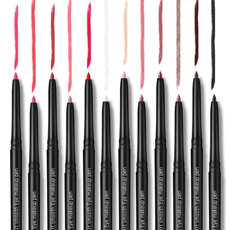 נובו מותג שפות איפור 12 צבעים מט Lipliner עיפרון ארוך לטווח תוחם שפתיים עט עמיד למים קל ללבוש אמנות מרקם חלק