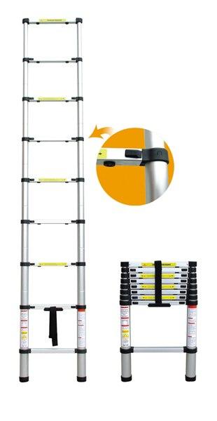 1pc 3.8M Household Extension Telescopic Ladder Multipurpose Retractable Aluminum Alloy Straight Ladder Adjustable Ladder