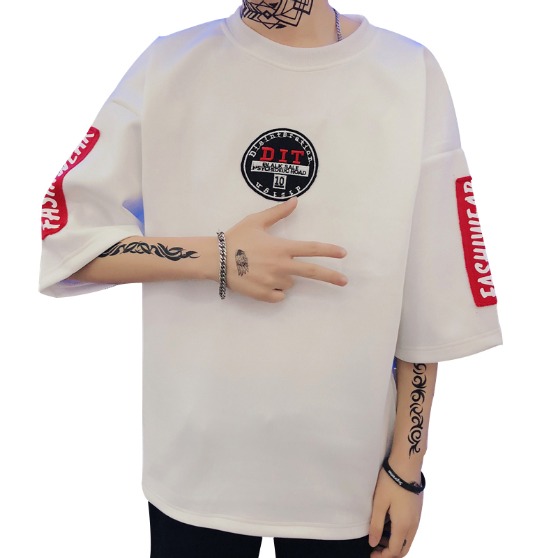 Diurnal Wind Original Hip-hop Seven Part Sleeve T Shirt Pity Male Tide Personality City Boy Trend Exquisite White Free shipping