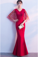 Luxury Evening Gowns V neck robe de soiree Wine red Lace Mermaid Evening Dresses Long 2018 Best Selling