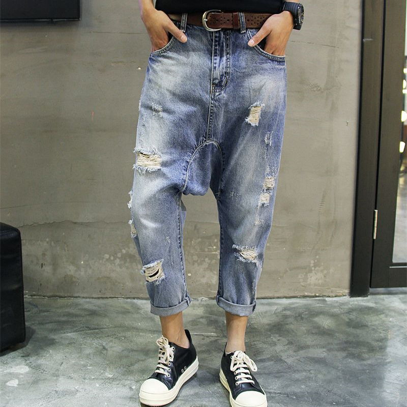 Korean version of the new nine hole jeans male Japanese loose pants pants feet Haren youth drop crotch pants