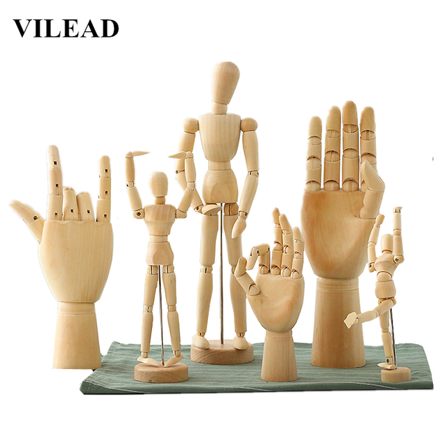VILEAD 8 Size Wood Hand Wooden Man Figurines Rotatable Joint Hand Model Mannequin Artist Miniatures Wooden Decoration Home Decor 1