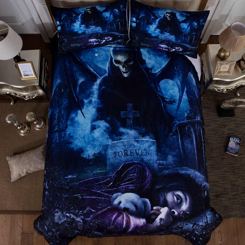 Wongsbedding HD Nightmare Bedding Set Skull Customized Duvet Cover Sets Twin Full Queen King Size 3PCS Bedding
