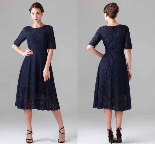 Custom Plus Size Navy Blue Lace Mother of the Bride Dresses with Half  Sleeves Wedding Party Gowns Mother of the Groom Dress-in Mother of the  Bride ...