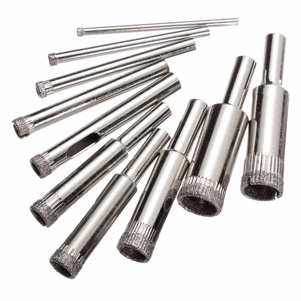 10pcs/set Steel Diamond Hole Saw Drill Bit Set 3mm-13mm Tile Ceramic Glass Porcelain Marble Hole Saw High Quality 10pcs diamond holesaw set 8 50mm drill bit hole saw cutter for tile glass marble ceramic
