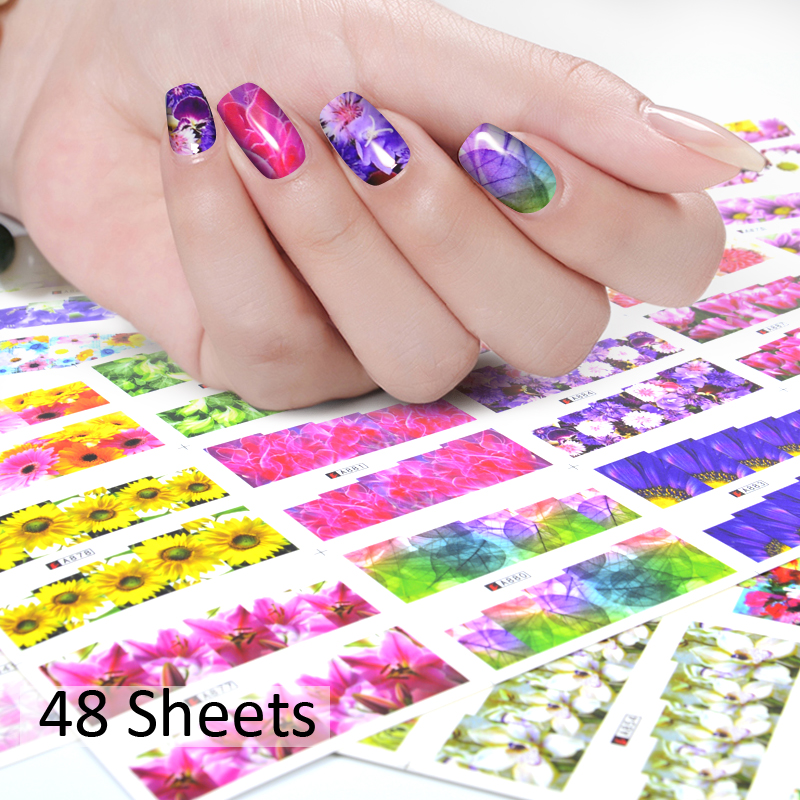 1 Pack 48 Sheets Colorful Pretty Flowers Nail Art Water Stickers Decals Full Wraps Nails Transfer Sticker For Women Nails DIY 10 sheets lot charming nail stickers full wraps flowers water transfer nail decals decorations diy watermark manicure tools