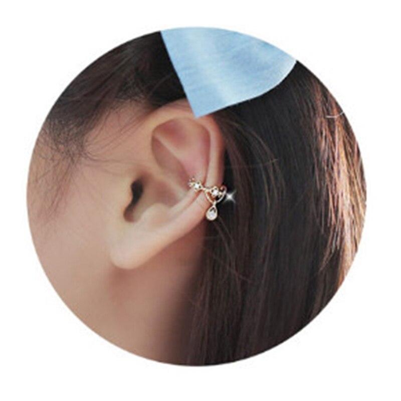Fashion Silver Ear Cuff Wrap Rhinestone Cartilage Clip Earring Non Piercing