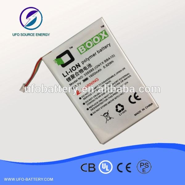355585 e book li ion polymer battery 3.7v 1600mAh