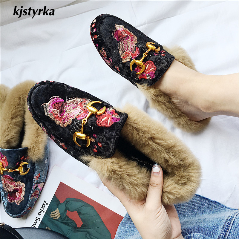 Kjstyrka 2018 Brand designer fashion Embroider autumn winter warm women mules flats shoes with fur kjstyrka 2018 brand designer women mules pointed toe ladies shoes med heel sandals black red lattice fashion girls shoes