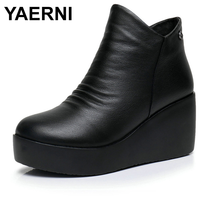 YAERNI 2018 New Autumn Winter Women Shoes Woman Genuine Leather Wedges Snow Boots Height Increasing Ankle Women Boots E373 timetang 2017 new autumn winter women shoes woman genuine leather wedges snow boots height increasing ankle women boots size