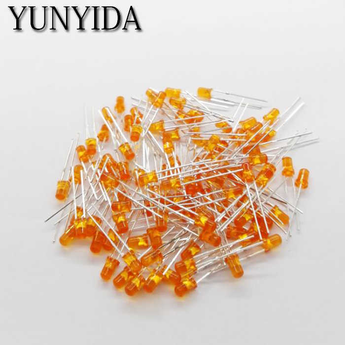 14-19 3mm LED diode électroluminescente orange 100 pièces/lot pieds de long 16-18mm