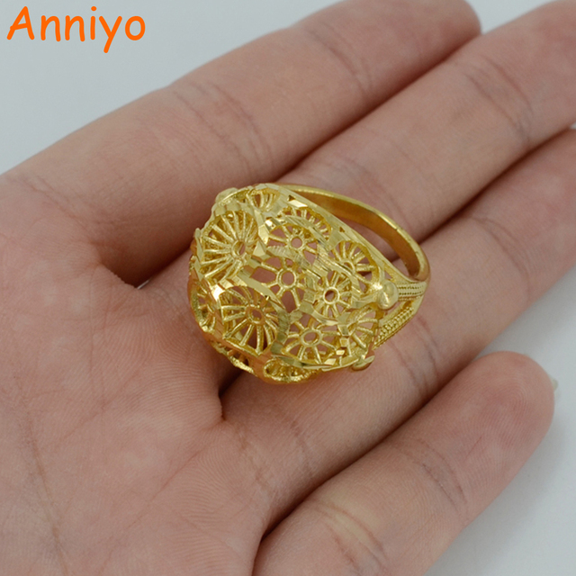 Anniyo Women Ring Gold Color and Brass Ethiopian Bride Wedding Ring Africa Jewel