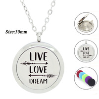 10pcs/lot Stainless Steel Essential Oil Diffuser Necklace for Women Positive Quote 30MM Aromatherapy Pendant(free with 5pads)
