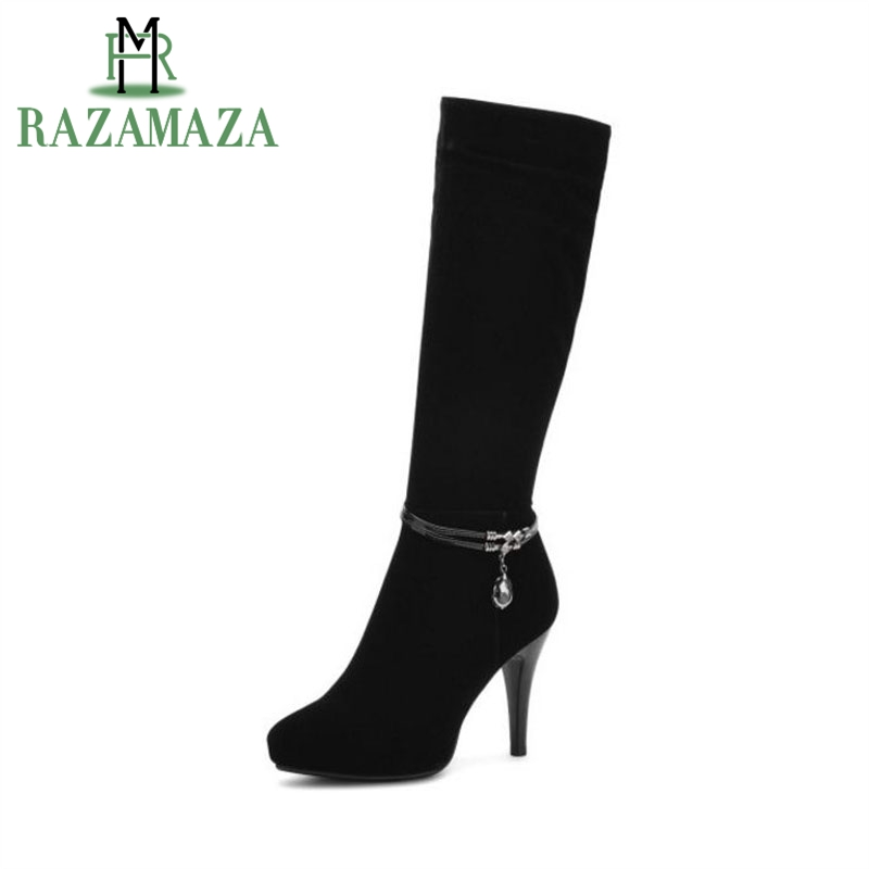 ZALAVOR femmes bottes à talons hauts perles demi bottes courtes chaussures chaudes d'hiver bottes chaudes genou haut Botas chaussures pour femmes taille 34-39