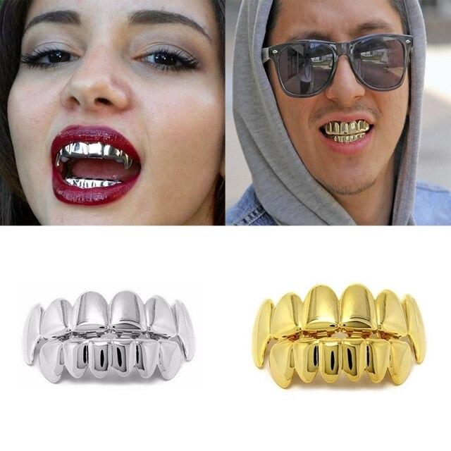 Hip Hop Tooth metal Cool Braces Hiphop Silver Gold Teeth Grillz Top Bottom  Set Vampire 03c8e57d7c42