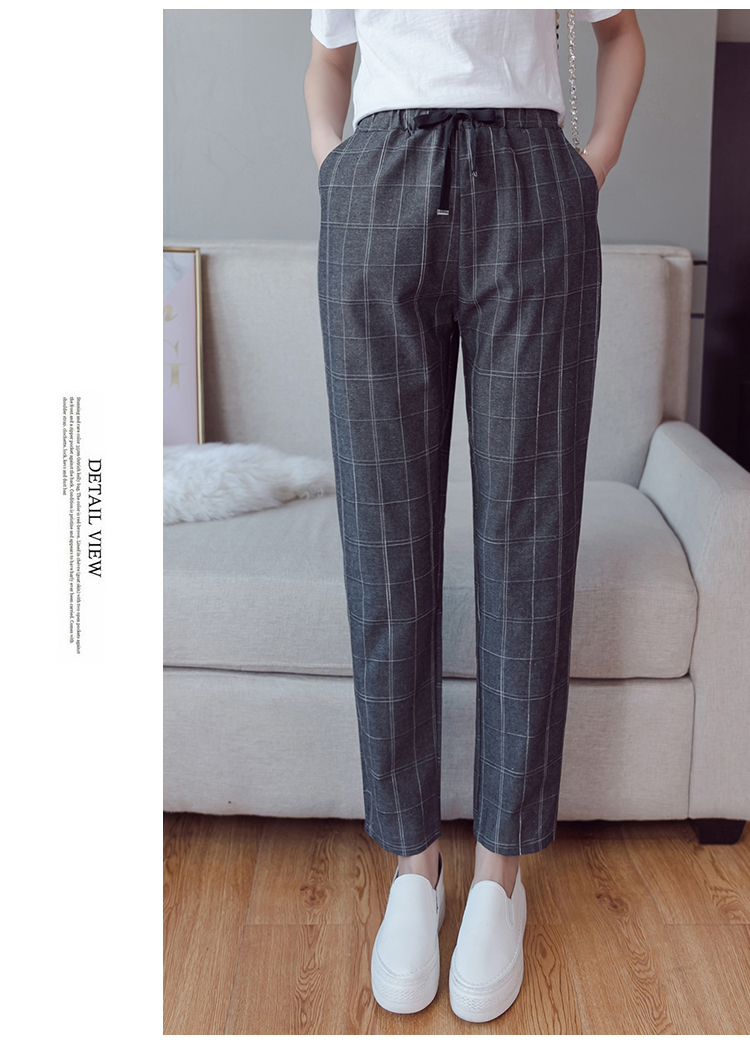 Make English plaid pants female easy to restore ancient ways recreational pants the spring and autumn period and the new female 12