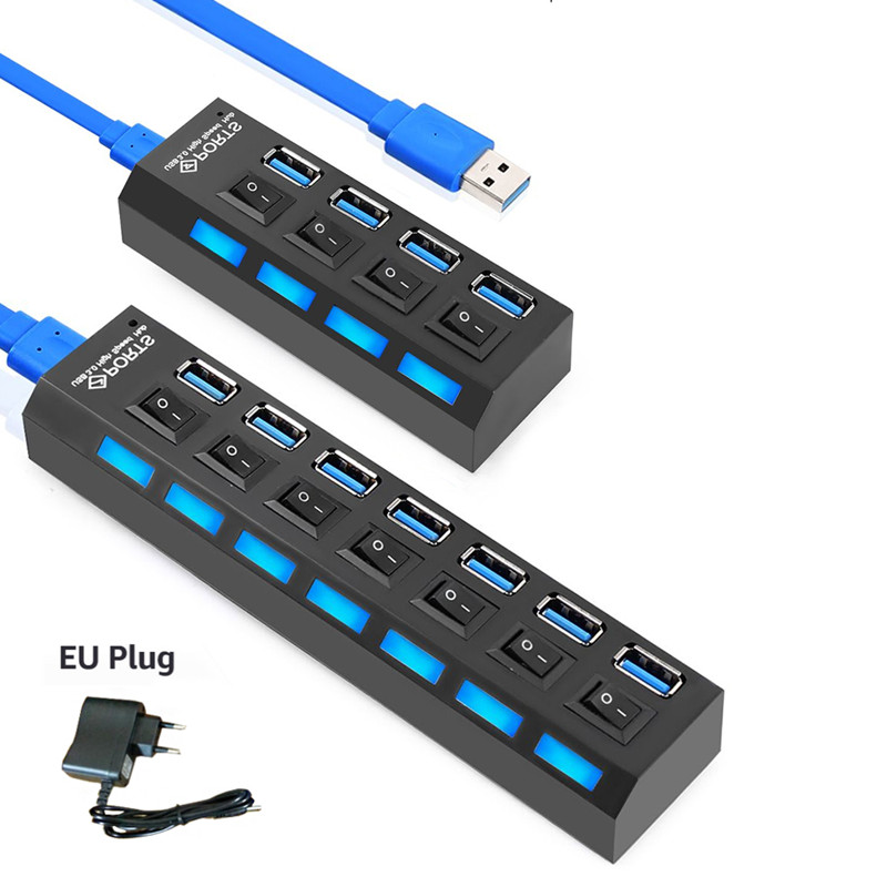 EASYIDEA USB HUB 3.0 Mini USB Splitter Micro Multi USB 3.0 HUB 4/7 Ports With Power Adapter High Speed 5 Gbps for PC Accessories orico aluminum 4 port usb 3 0 hub high speed 5 gbps multi usb splitter laptop accessorie with 12v power for computer pc a3h4