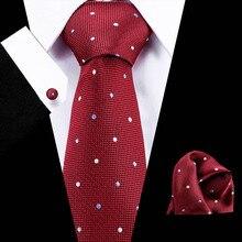 дешево!  Мужские красные галстуки в горошек 100% шелковый галстук и нагрудный платок Мужские серые деловые