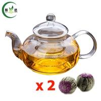 600 ml di Alta Qualità A Doppia Parete di Vetro Teiera Con Infusore Filtro di Vetro Bollitore Tè Verde Teiera Con 2 pz Fioritura tè