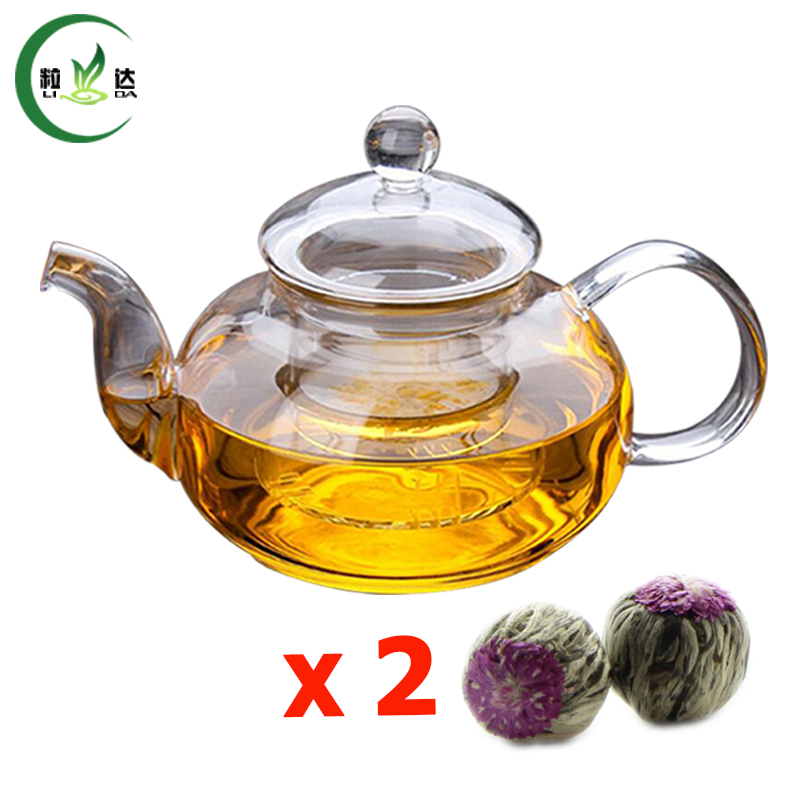 Buy 600ml high quality double walled glass teapot with infuser filter glass - Tea pots with infuser ...