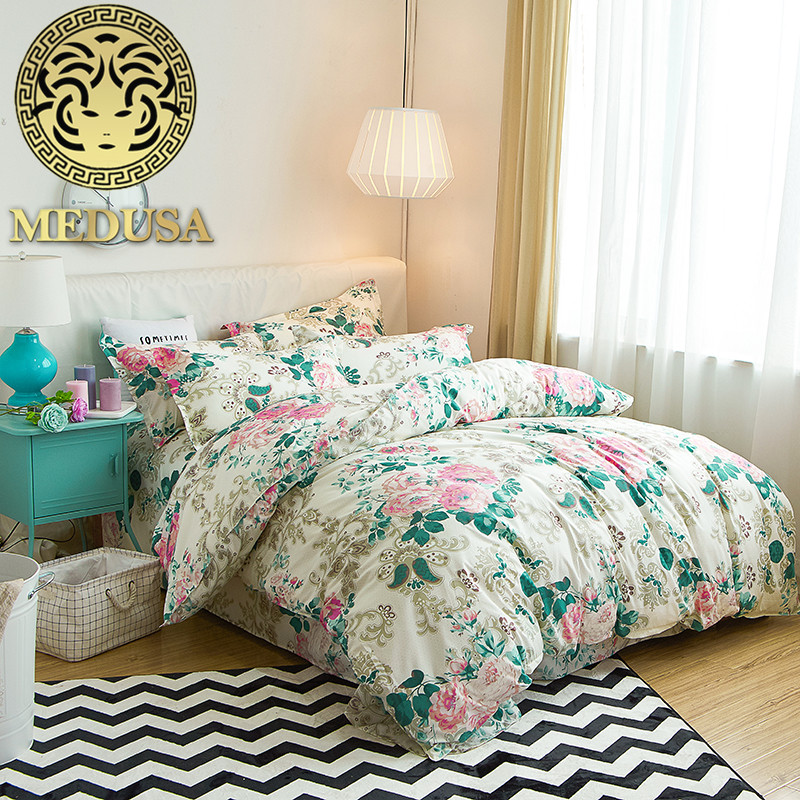 Medusa Modern Floral Bed Linen Queen Double Single Size Duvet/doona Cover Set