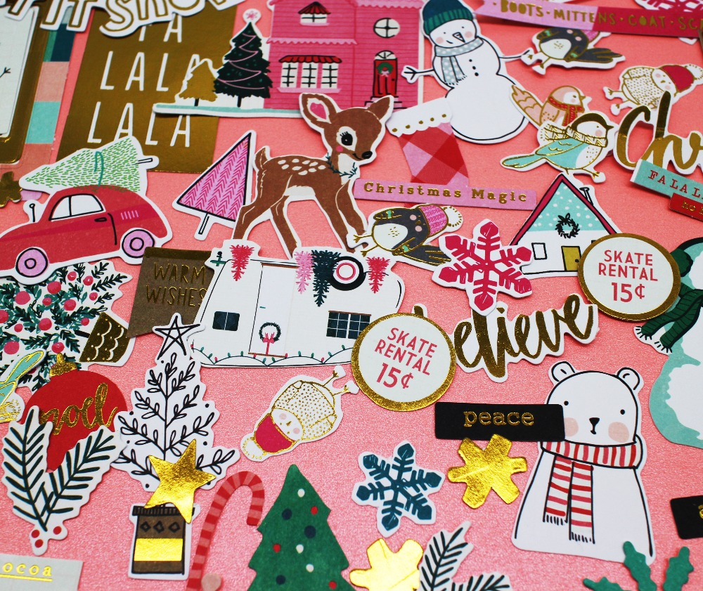 70pcs Christmas Kawaii Paper Stickers Paper Die Cut Stickers For Scrapbooking Hand account/cellphone/Gift Card Making crafts