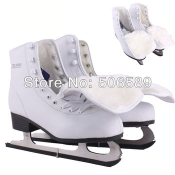 free shipping ice skate shoes white color #33---#42 warm liner