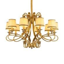 2017 New Retro copper Pendant Light Fabric Lampshade Hanging Europe Style Lamp Living Room Restaurant home decoratio