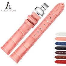 ALK Leather Watch Band Bracelet Strap butterfly deployant Clasp buckle Watchband accessories 14mm 16mm 18mm 19mm 20mm 22mm 24mm стоимость
