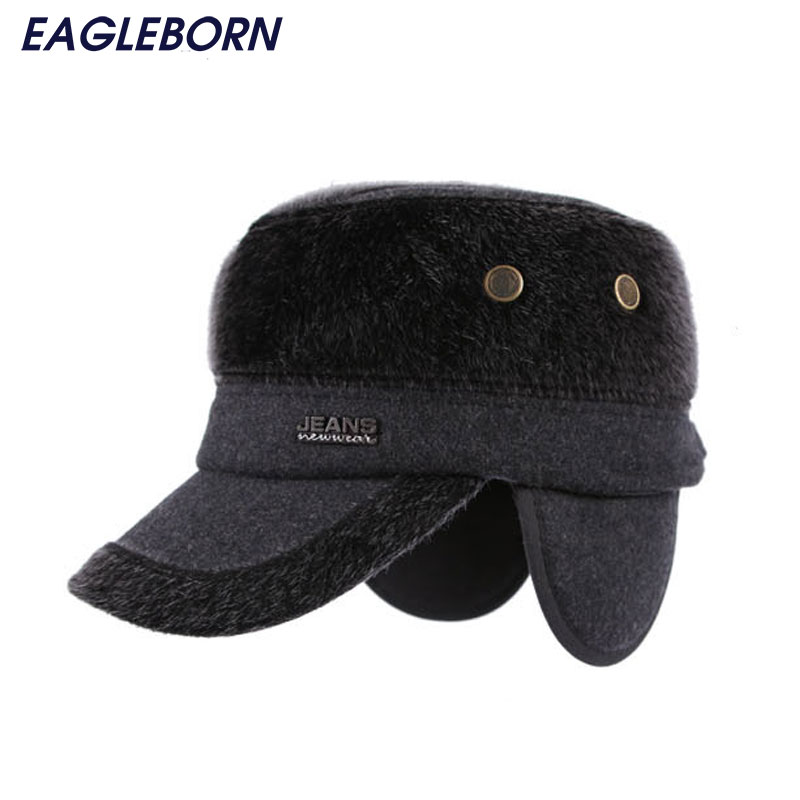 67a3ec47 New Winter men Flat top drake cap faux fur hat chapeu patchwork caps with  earflaps protect ears thicker gorras Dad hat -in Baseball Caps from Apparel  ...
