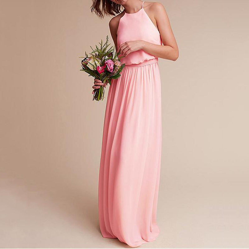 Sexy Halter Pink Chiffon   Bridesmaid     Dresses   Spaghetti Strap Pleat Prom Long vestido de festa A-line   Bridesmaid     Dress