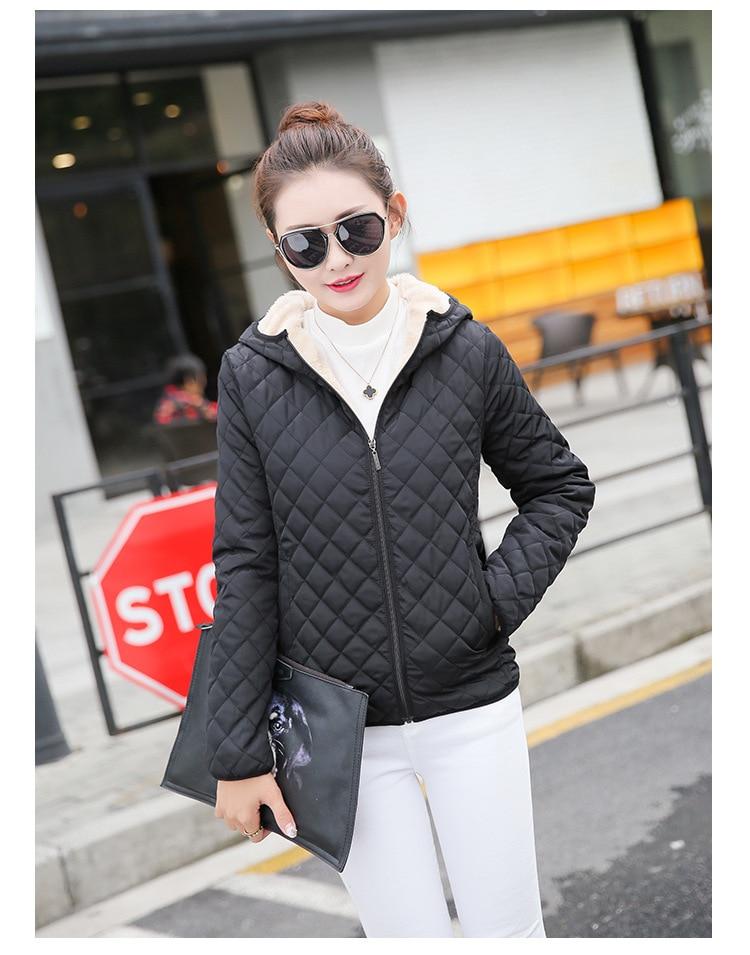 Autumn 2019 New Parkas basic jackets Female Women Winter plus velvet lamb hooded Coats Cotton Winter Jacket Womens Outwear coat 11