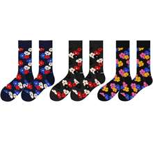 WH SOKKEN Happy socks Spring and autumn couple combed cotton Floral pattern suitable for matching travel suit jeans