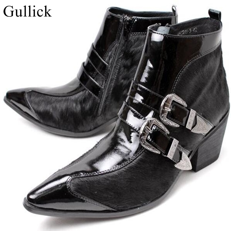 2018 Hot Winter Men Boot Black Genuine Leather Pointed toe Horse Hair Men Shoes Sexy Height Inceased Mens Dress Boots