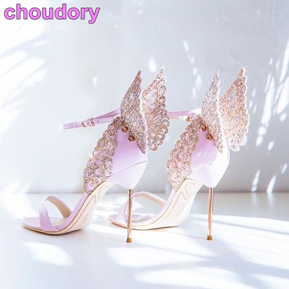 High End Women Pinnk Erfly Sandals Metal Stiletto Heel Metallic Cut Outs Pumps Bling Crystal Celebrity Wedding Shoes In Heels From On