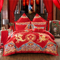 Luxury Red Wedding 100% Cotton Bedding Set Golden Phoenix Dragon Embroidery Duvet Cover Bed Flag Bed Sheet Bedspread Pillowcases