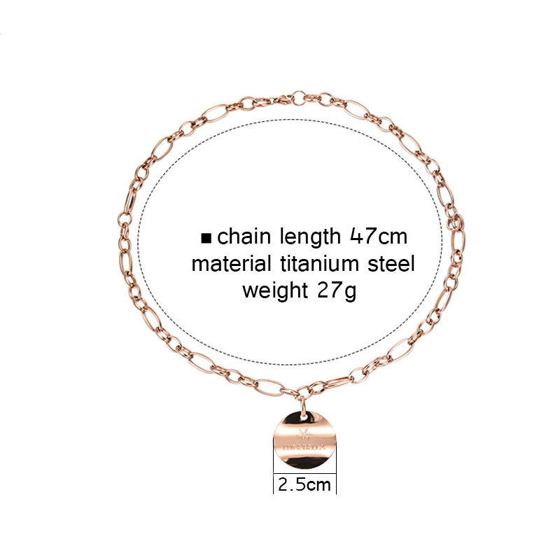 High grade charm chains round pendant necklace for women titanium irregular round plate coin necklaces collier fashion 2019 R34 in Pendant Necklaces from Jewelry Accessories