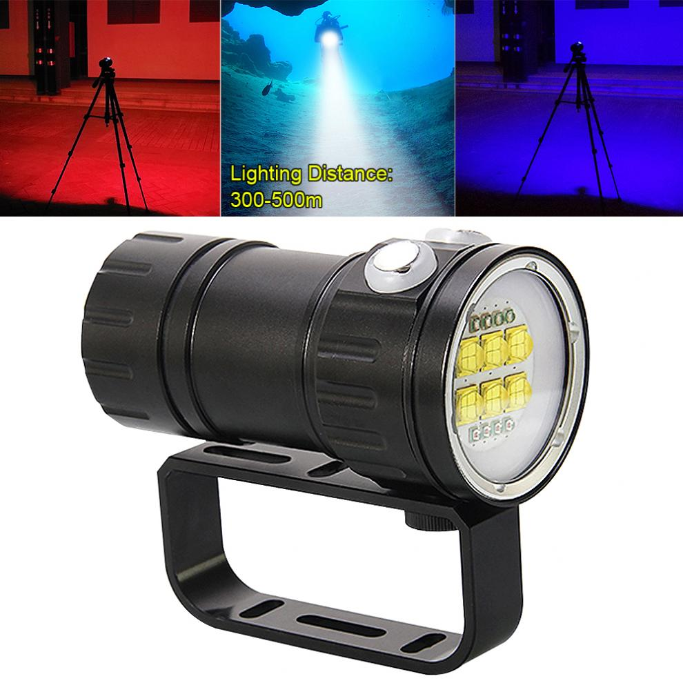 LED Underwater Flashlight QH14 300W 28800 Lumens Six 9090 XML2 + Four XPE R5 + Four XPE R5 Scuba Diving Canister Lamp 7 Modes